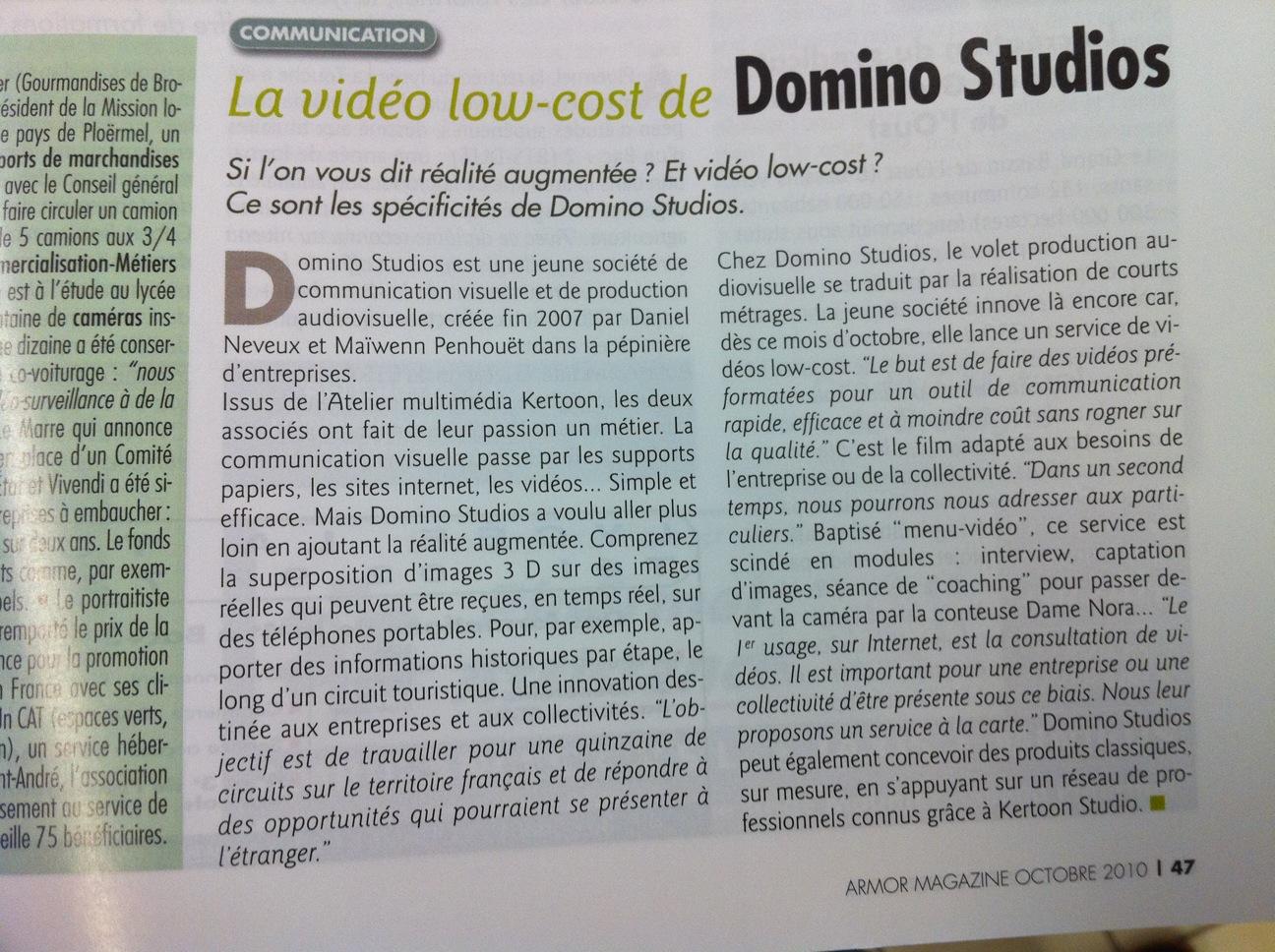 Domino Studios dans Armor Magazine